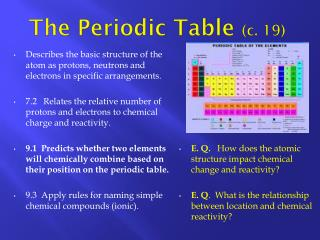 The Periodic Table  (c. 19)