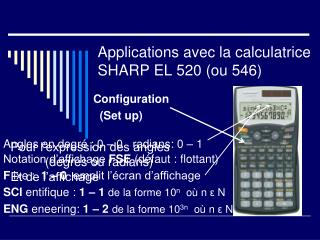Applications avec la calculatrice SHARP EL 520 (ou 546)