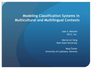Modeling Classification Systems in Multicultural and Multilingual Contexts
