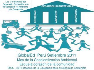 Las  3 Columnas del Desarrollo Sostenible son  la Sociedad,  el Ambiente  y la Economía