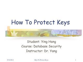 How To Protect Keys