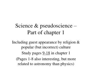 Science  pseudoscience   Part of chapter 1