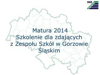 Matura  2014 Szkolenie dla zdających z Zespołu Szkół w Gorzowie Śląskim