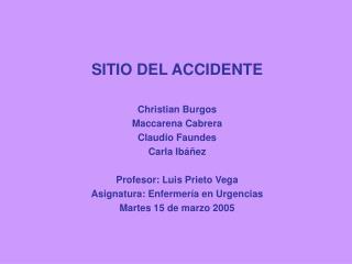 SITIO DEL ACCIDENTE Christian Burgos Maccarena Cabrera Claudio Faundes Carla Ibáñez