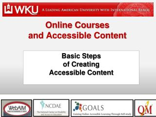 Online Courses  and  Accessible Content