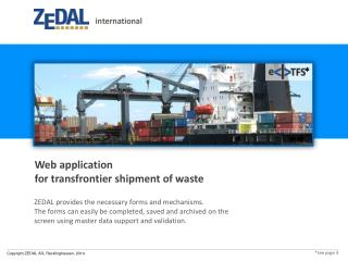 Web  application for transfrontier shipment of waste