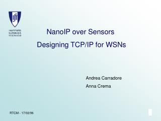NanoIP over Sensors  Designing TCP/IP for WSNs