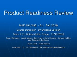 Product Readiness Review