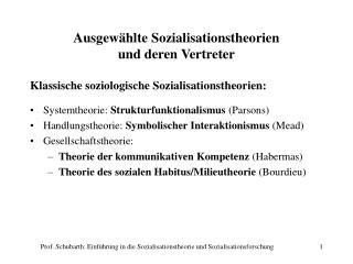 Ausgew hlte Sozialisationstheorien  und deren Vertreter