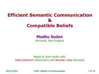 Efficient Semantic Communication &  Compatible Beliefs