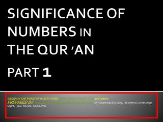SIGNIFICANCE OF NUMBERS  IN THE QUR  ' AN PART  1