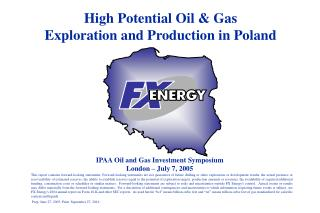 High Potential Oil & Gas  Exploration and Production in Poland