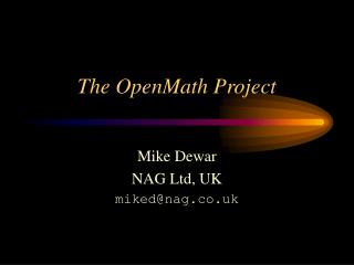 The OpenMath Project