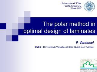The polar method in optimal design of laminates