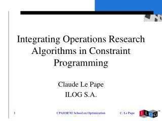 Integrating Operations Research Algorithms in Constraint Programming