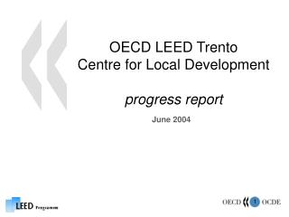 OECD LEED Trento  Centre for Local Development progress report