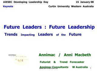 AIESEC  Developing  Leadership  Day                                       15  January 08