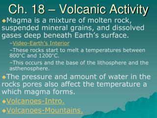 Ch. 18 – Volcanic Activity