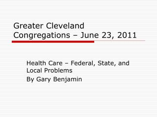 Greater Cleveland Congregations � June 23, 2011