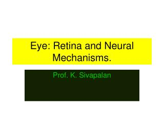 Eye: Retina and Neural Mechanisms.