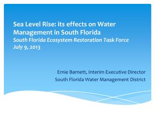 Ernie Barnett, Interim Executive Director South Florida  Water  Management District