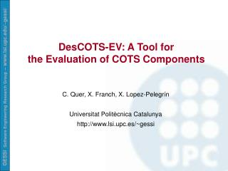 DesCOTS-EV: A Tool for  the Evaluation of COTS Components