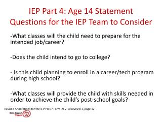 IEP Part 4: Age 14 Statement Questions for the IEP Team to Consider