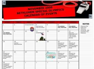 NOVEMBER 2009  BETHLEHEM SPECIAL OLYMPICS  CALENDAR OF EVENTS