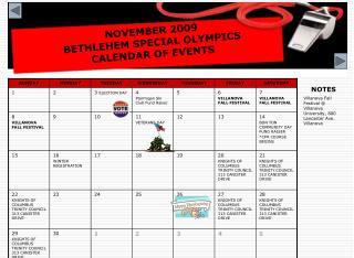 NOVEMBER 2009  BETHLEHEM SPECIAL OLYMPICS  CALENDAR OF EVENTS