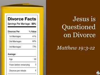 Jesus is Questioned           on Divorce
