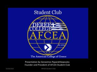 Presentation by Gerasimos Papandrikopoulos Founder and President of AFCEA Student Club