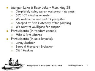 Munger Lake & Bear Lake – Mon, Aug 28  Completely calm; water was smooth as glass