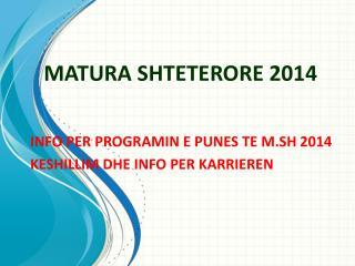 MATURA SHTETERORE 2014