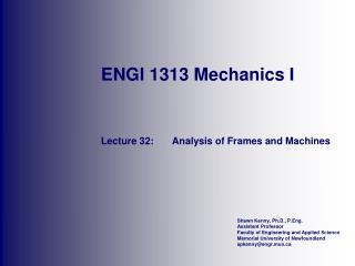 ENGI 1313 Mechanics I