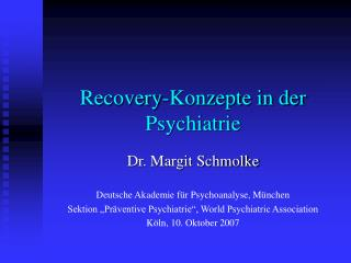 Recovery-Konzepte in der Psychiatrie