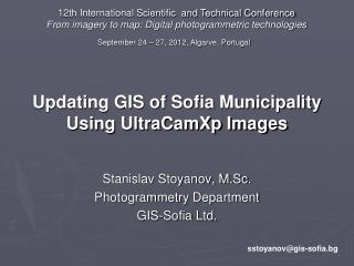 Updating GIS of Sofia Municipality Using UltraCamXp Images
