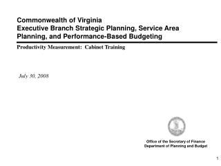 Commonwealth of Virginia Executive Branch Strategic Planning, Service Area