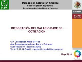 INTEGRACI�N DEL SALARIO BASE DE COTIZACI�N