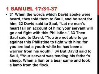 1 SAMUEL 17:31-37