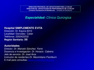 DIRECCIÓN PROVINCIAL DE CAPACITACIÓN PARA LA SALUD