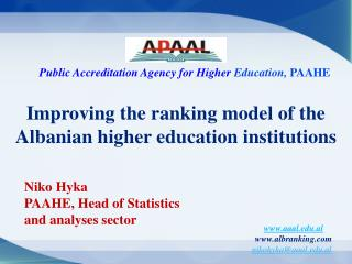 Improving the ranking model of the Albanian higher education institutions