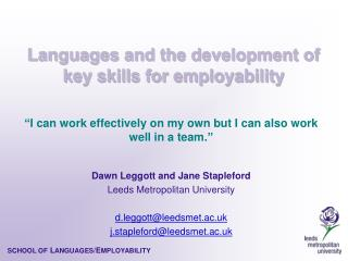 Languages and the development of key skills for employability