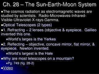 Ch. 28 – The Sun-Earth-Moon System