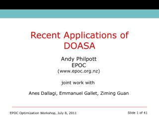 Andy Philpott EPOC (epoc.nz) joint work with  Anes Dallagi, Emmanuel Gallet, Ziming Guan