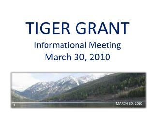 TIGER GRANT Informational Meeting March 30, 2010