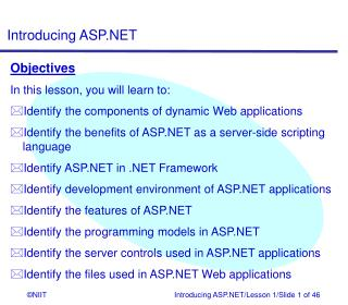Objectives In this lesson, you will learn to: Identify the components of dynamic Web applications