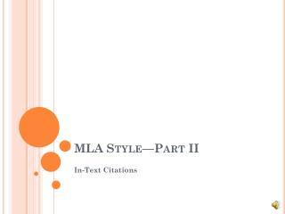 MLA Style—Part II