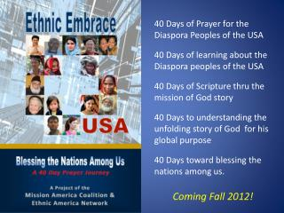 40 Days of Prayer for the Diaspora Peoples of the USA