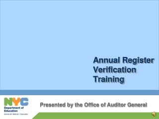 Annual Register Verification Training