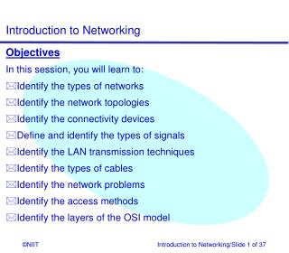 Objectives In this session, you will learn to: Identify the types of networks